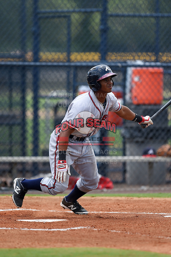 GCL Braves second baseman Ray-Patrick Didder (8) at bat during the second game of a doubleheader against the GCL Yankees 1 on July 1, 2014 at the Yankees Minor League Complex in Tampa, Florida.  GCL Braves defeated the GCL Yankees 1 by a score of 3-1.  (Mike Janes/Four Seam Images)