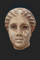 Marble colossal head of Artemis (190-180 B.C.) in National Museum, Greece
