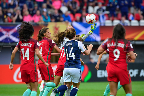 July 23rd 2017, Sparta Stadion, Rotterdam, Netherlands; Womens Euro 2017 Finals, Group D Match; Scotland versus Portugal; A late save by Portugal in their box who celebrate as Scotland eliminated