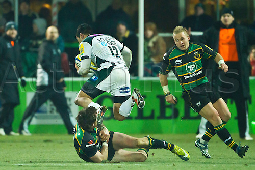 Dan Bowden beats Jon Clarke as Shane Geraghty looks on.  Northampton Saints v London Irish, Aviva Premiership, 26 November 2010 at Franklin's Gardens.  Final score: Northampton Saints 35-23 London Irish.