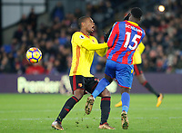 Jeffrey Schlupp of Crystal Palace and Christian Kabasele of Watford collide during the EPL - Premier League match between Crystal Palace and Watford at Selhurst Park, London, England on 12 December 2017. Photo by Carlton Myrie / PRiME Media Images.