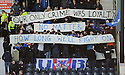 RANGERS FANS CONTINUE THEIR PROTEST AGAINST THE PROPOSED LEGISLATION WHICH IS AIMED AT CRACKING DOWN ON SECTARIANISM