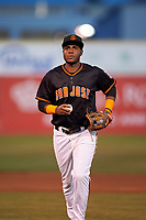 San Jose Giants shortstop Manuel Gerardo (26) during a California League game against the Visalia Rawhide on April 12, 2019 at San Jose Municipal Stadium in San Jose, California. Visalia defeated San Jose 6-2. (Zachary Lucy/Four Seam Images)