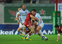 Racing 92 Henry Chavancy breaks through Scarlets' Gareth Davies's tackle<br /> <br /> Photographer Ian Cook/CameraSport<br /> <br /> European Rugby Champions Cup - Scarlets v Racing 92 - Saturday 13th October 2018 - Parc y Scarlets - Llanelli<br /> <br /> World Copyright © 2018 CameraSport. All rights reserved. 43 Linden Ave. Countesthorpe. Leicester. England. LE8 5PG - Tel: +44 (0) 116 277 4147 - admin@camerasport.com - www.camerasport.com