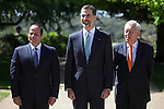 King Felipe VI of Spain (C), Arab Republic of Egypt President Abdelfatah Al-Sisi (L)) and Minister of Foreign Affairs Jose Manuel Garcia Margallo (R) during a Royal Audience at Zarzuela Palace in Madrid, Spain. April 30, 2015. (ALTERPHOTOS/Victor Blanco)
