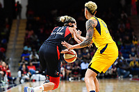Washington, DC - Aug 8, 2019: Washington Mystics forward Elena Delle Donne (11) drives past Indiana Fever forward Candice Dupree (4) during 2nd half action of game between the Indiana Fever and the Washington Mystics. The Mystics defeat the Fever 91-78 at the Entertainment & Sports Arena in Washington, DC. (Photo by Phil Peters/Media Images International)