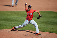 Batavia Muckdogs relief pitcher Ryan McKay (24) delivers a pitch during a game against the Auburn Doubledays on June 17, 2018 at Falcon Park in Auburn, New York.  Auburn defeated Batavia 10-6.  (Mike Janes/Four Seam Images)