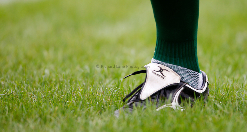 Photo: Richard Lane/Richard Lane Photography. Gloucester Rugby v Leicester Tigers. Guinness Premiership. 07/09/2008. Glibert rugby boots.