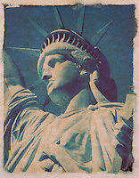 Polaroid Transfer Photograph of the Statue of Liberty, Upper New York Bay, New York City, New York State, USA<br />