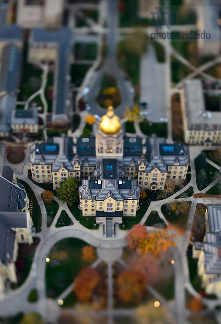 Oct. 24, 2012; Main Building aerial with tilt-shift lens...Photo by Matt Cashore/University of Notre Dame
