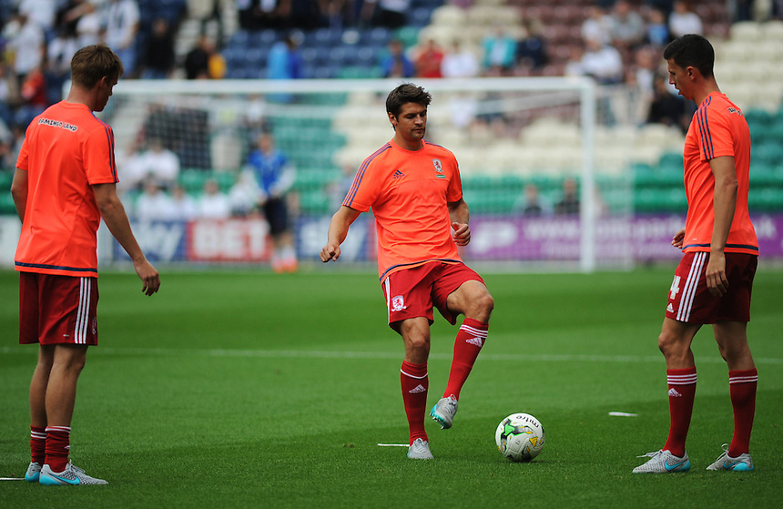 Middlesbrough's George Friend during the pre-match warm-up <br /> <br /> Photographer Kevin Barnes/CameraSport<br /> <br /> Football - The Football League Sky Bet Championship - Preston North End v Middlesbrough -  Sunday 9th August 2015 - Deepdale - Preston<br /> <br /> &copy; CameraSport - 43 Linden Ave. Countesthorpe. Leicester. England. LE8 5PG - Tel: +44 (0) 116 277 4147 - admin@camerasport.com - www.camerasport.com