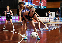 23.02.2018 Silver Ferns Shannon Francois and Fiji's Lusiani Rokoura in action during the Silver Ferns v Fiji Taini Jamison Trophy netball match at the North Shore Events Centre in Auckland. Mandatory Photo Credit ©Michael Bradley.