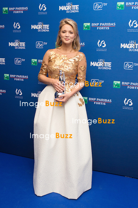 Virginie Efira  ( Magritte de la meilleure actrice ) : 7&egrave;me C&eacute;r&eacute;monie des Magritte du Cin&eacute;ma, qui r&eacute;compense le septi&egrave;me art belge, au Square, &agrave; Bruxelles - Salle de presse.<br /> 7th edition of the Magritte du Cinema awards ceremony - Press Room<br /> Belgium, Brussels, 4 February 2017