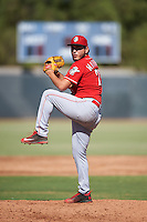 Cincinnati Reds pitcher Carlos Machorro (73) during an Instructional League game against the Milwaukee Brewers on October 14, 2016 at the Maryvale Baseball Park Training Complex in Maryvale, Arizona.  (Mike Janes/Four Seam Images)