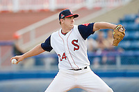 Starting pitcher Brock Huntzinger #24 of the Salem Red Sox in action against the Kinston Indians at Lewis-Gale Field May 1, 2010, in Winston-Salem, North Carolina.  Photo by Brian Westerholt / Four Seam Images