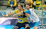 GER - Mannheim, Germany, September 23: During the DKB Handball Bundesliga match between Rhein-Neckar Loewen (yellow) and TVB 1898 Stuttgart (white) on September 23, 2015 at SAP Arena in Mannheim, Germany. Final score 31-20 (19-8) .  Rafael Baena Gonzalez #16 of Rhein-Neckar Loewen, Kasper Kisum #10 of TVB 1898 Stuttgart<br /> <br /> Foto &copy; PIX-Sportfotos *** Foto ist honorarpflichtig! *** Auf Anfrage in hoeherer Qualitaet/Aufloesung. Belegexemplar erbeten. Veroeffentlichung ausschliesslich fuer journalistisch-publizistische Zwecke. For editorial use only.