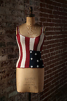 Photo of an old Apparel Dress Form with a knit Tank Top in an American Flag design. American Made.