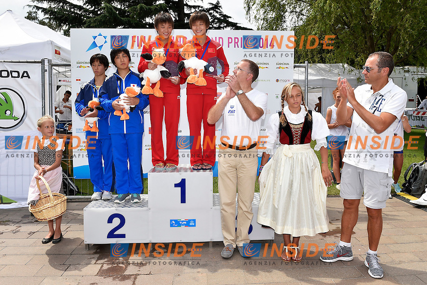 Cerimonia Premiazione <br /> Synchronised Platform Women - Piattaforma Donne Sincronizzato  <br /> Bolzano 03-08-2014 <br /> 20 Fina Diving Grand Prix <br /> Photo Andrea Staccioli/Insidefoto