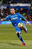 12th January 2018, Estadio Coliseum Alfonso Perez, Getafe, Spain; La Liga football, Getafe versus Malaga; Vitorino Antunes (Getafe CF) controls the high ball