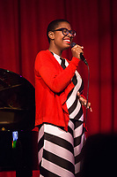 Cécile MCLorin Salvant and Sullivan Fortner perform during the Duke Performances in The Jazz Tradition series at the Durham Fruit & Produce Company in Durham, North Carolina Tuesday, December 4, 2018  (Justin Cook)