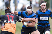 Sean Bagshaw muscles his way past Waikato Maka. Counties Manukau Premier Counties Power Club Rugby Round 2, Game of the Week, between Te Kauwhata and Onewhero, played at Te Kauwhata on Saturday March 17th 2018. <br /> Photo by Richard Spranger.<br /> <br /> Onewhero won the game 43 - 10 after leading 21 - 10 at halftime.<br /> Te Kauwhata EnviroWaste  10 - Lani Latu try,  Caleb Brown 1 conversion, Caleb Brown 1 penalty.<br /> Onewhero 43 - Jackson Orr 2, Ilaisa Koaneti 2, Vaughan Holdt, Zac Wootten, Rhain Strang tries, Vaughan Holdt 4 conversions.