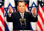 Washington, DC - July 19, 1999 -- Prime Minister Ehud Barak of Israel emphasizes a point during his joint press conference with United States President Bill Clinton on Monday, 19 July, 1999..Credit: Ron Sachs / CNP