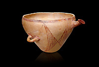 "Minoan clay vessel from ""West Court House""  Knossos 2600-2400 BC BC, Heraklion Archaeological  Museum, black background."