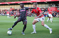 Leeds United's Eddie Nketiah shields the ball from Salford City's Carl Piergianni<br /> <br /> Photographer Alex Dodd/CameraSport<br /> <br /> The Carabao Cup First Round - Salford City v Leeds United - Tuesday 13th August 2019 - Moor Lane - Salford<br />  <br /> World Copyright © 2019 CameraSport. All rights reserved. 43 Linden Ave. Countesthorpe. Leicester. England. LE8 5PG - Tel: +44 (0) 116 277 4147 - admin@camerasport.com - www.camerasport.com