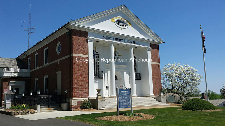 MIDDLEBURY, CT: 14 May 2015:051415BB01: MIDDLEBURY --- Board of Finance Chairman Michael McCormack wants to look into having metal roofs with solar panels over Town Hall (pictured here) and Shepardson Community Center. Bill Bittar Republican-American
