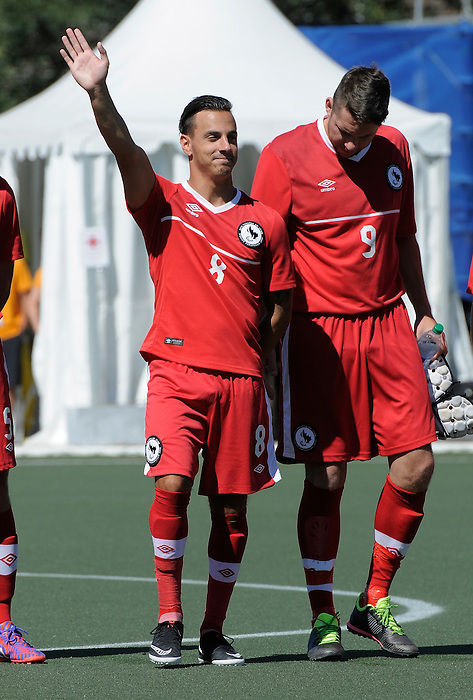 Toronto, ON - Aug 9 2015 -  John Phillips waves to the crowd before Canada vs United States in First Round Football 7-a-side at the Parapan Am Fields during the Toronto 2015 Parapan American Games  (Photo: Matthew Murnaghan/Canadian Paralympic Committee)