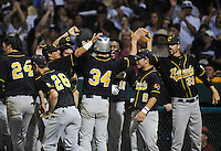 Jun. 1, 2010; Grand Junction, CO, USA; Southern Nevada Coyotes right fielder Bryce Harper is congratulated by teammates after scoring against Iowa Western C.C. during the Junior College World Series as Suplizio Field. Southern Nevada won the game 12-7. Mandatory Credit: Mark J. Rebilas-