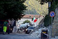 Accumoli, Rieti, 26 Agosto 2016.<br /> Edifici crollati ad Accumoli epicentro del terremoto. <br /> L'Italia &egrave; stata colpita da un potente, terremoto di 6,2 magnitudo nella notte del 24 agosto, 2016, che ha ucciso almeno 290 persone .<br /> Collapsed buildings  in Accumoli, earthquake epicenter in central Italy was struck by a powerful, 6.2-magnitude earthquake in the night of August 24, 2016, Which has killed at least 290 people and devastated hundreds of houses.
