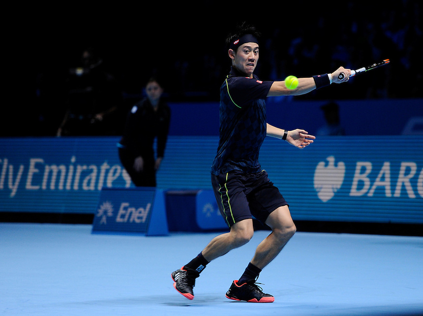 Kei Nishikori in action during his defeat to Novak Djokovic in their Stan Smith Group match today - Novak Djokovic def Kei Nishikori 6-1, 6-1<br /> <br /> Photographer Ashley Western/CameraSport<br /> <br /> International Tennis - Barclays ATP World Tour Finals - O2 Arena - London - Day 1 - Sunday 15th November 2015<br /> <br /> &copy; CameraSport - 43 Linden Ave. Countesthorpe. Leicester. England. LE8 5PG - Tel: +44 (0) 116 277 4147 - admin@camerasport.com - www.camerasport.com