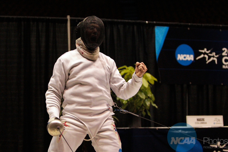 25 MAR 2012:  Jonathan Yergler of Princeton University celebrates his win over Alen Hadzic of Columbia in the epee competition of the Division I Men's Fencing Championship held at St. John Arena on the Ohio State University campus in Columbus, OH. Yergler defeated Hadzic 15-8 to claim the national title.  Jay LaPrete/ NCAA Photos