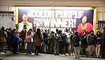 Outside atmosphere as cast members of 'The Color Purple' host a meet and greet with kids from PAL at The Jacobs Theatre on December 7, 2016 in New York City.