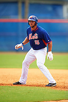 New York Mets outfielder Tim Tebow (15) leads off first during an Instructional League game against the Miami Marlins on September 29, 2016 at Port St. Lucie Training Complex in Port St. Lucie, Florida.  (Mike Janes/Four Seam Images)
