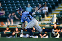 Charlotte Stone Crabs outfielder Joey Rickard (6) at bat during a game against the Bradenton Marauders on April 22, 2015 at McKechnie Field in Bradenton, Florida.  Bradenton defeated Charlotte 7-6.  (Mike Janes/Four Seam Images)