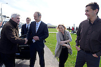 Fianna Fail candidate for the local elections in South Kerry Norma Moriarty from Waterville pictured with Micheal Martin, Mick O'Dwyer  and former Kerry footballer Maurice Fitzgerald campaigning in Waterville and Cahersiveen at the weekend.<br /> Picture by Don MacMonagle<br /> <br /> REPRO FREE PHOTO