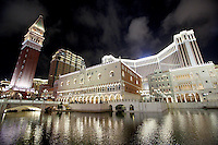 The exterior of the Venetian casino in Macau, at night.<br />