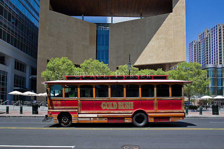 Charlotte NC - The Gold Rush Trolley Bus in uptown