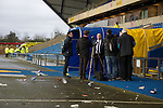 Oxford United 1 Accrington Stanley 2, 20/02/2016. Kassam Stadium, League Two. Oxford's home ground is the Kassam Stadium in Oxford and has a capacity of 12,500. United moved to the stadium in 2001 after leaving the Manor Ground, their home for 76 years. Accrington manager John Coleman conducts interviews after the game. Photo by Simon Gill.