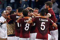 Calcio, Serie A: Roma vs ChievoVerona. Roma, stadio Olimpico, 31 ottobre 2013.<br /> AS Roma forward Marco Borriello, center, back to camera, partially hidden, celebrates with teammates after scoring during the Italian Serie A football match between AS Roma and ChievoVerona at Rome's Olympic stadium, 31 October 2013.<br /> UPDATE IMAGES PRESS/Riccardo De Luca