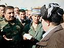 Iraq 2014, November 26, on the front near Kirkouk , Hama Haji Mahmoud, right, with commanders of his peshmergas Irak 2014  Le 26 novembre, sur le front pres de Kirkouk, Hama Haji mahmoud avec des commandants de ses peshmergas