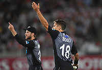 Kane Williamson and Trent Boult.<br /> New Zealand Black Caps v Australia.Tri-Series International Twenty20 cricket. Eden Park, Auckland, New Zealand. Friday 16 February 2018. &copy; Copyright Photo: Andrew Cornaga / www.Photosport.nz