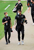 Lincoln City's Jorge Grant, left, and Ethan Ross arrive at the ground<br /> <br /> Photographer Chris Vaughan/CameraSport<br /> <br /> The EFL Sky Bet League One - Milton Keynes Dons v Lincoln City - Saturday 19th September 2020 - Stadium MK - Milton Keynes<br /> <br /> World Copyright © 2020 CameraSport. All rights reserved. 43 Linden Ave. Countesthorpe. Leicester. England. LE8 5PG - Tel: +44 (0) 116 277 4147 - admin@camerasport.com - www.camerasport.com