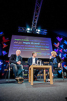 Tuesday 27 May 2014, Hay on Wye, UK<br /> Pictured: James Mitchell, Richard Wyn Jones talk to Bethan Rhys Roberts<br /> Re: The Hay Festival, Hay on Wye, Powys, Wales UK.