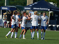 Kansas City, MO - Sunday August 28, 2016: Kathryn Schoepfer celebrates scoring, Kassey Kallman, Angela Salem during a regular season National Women's Soccer League (NWSL) match between FC Kansas City and the Boston Breakers at Swope Soccer Village.