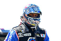 Sept. 21, 2013; Ennis, TX, USA: NHRA top fuel dragster driver Antron Brown during the Fall Nationals at the Texas Motorplex. Mandatory Credit: Mark J. Rebilas-