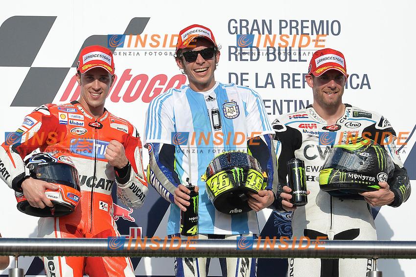 Podio Andrea Dovizioso, Valentino Rossi, Cal Crutchlow<br /> Termas De Rio Hondo (Argentina) 19/04/2015 - gara Moto GP / foto Luca Gambuti/Image Sport/Insidefoto