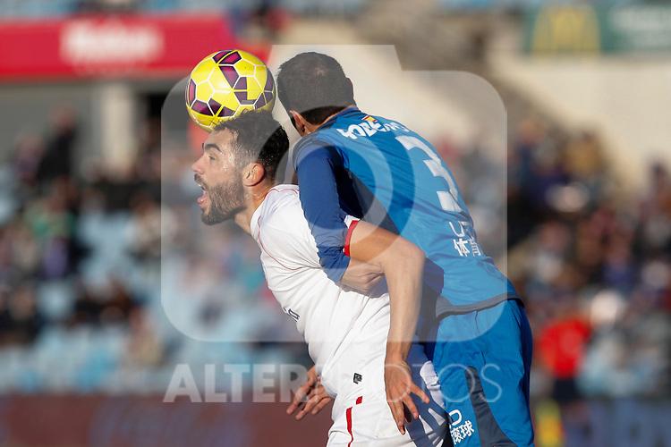 Getafe´s Roberto Lago and Sevilla´s  during 2014-15 La Liga match at Alfonso Perez Coliseum stadium in Getafe, Spain. February 08, 2015. (ALTERPHOTOS/Victor Blanco)
